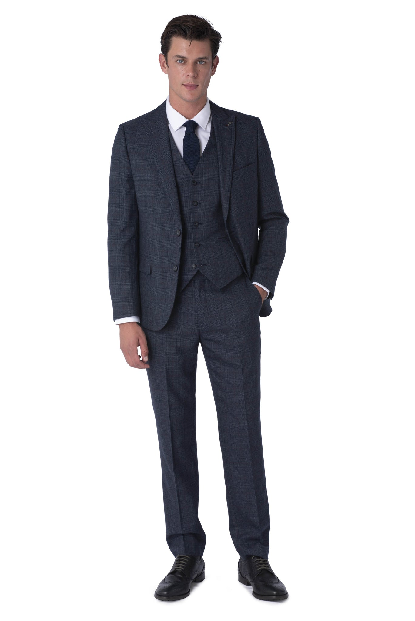 Front of FINN Blue Check 100% Wool Three Piece Suit