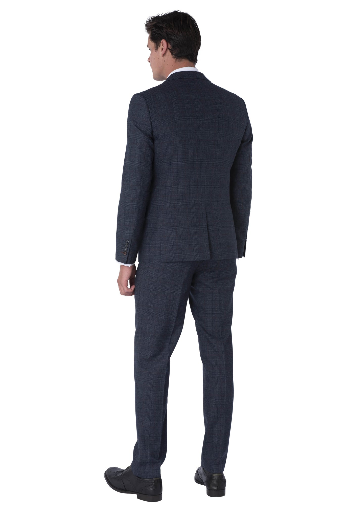 Back of FINN Blue Check 100% Wool Three Piece Suit