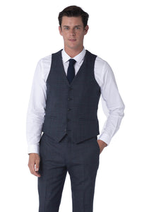 Waistcoat of FINN Blue Check 100% Wool Three Piece Suit