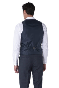 Back of waistcoat of FINN Blue Check 100% Wool Three Piece Suit