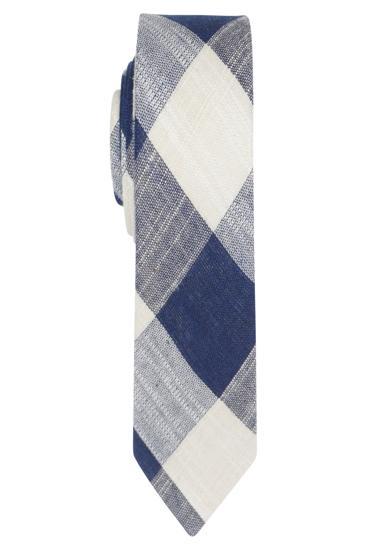 Blue & White Check Tie