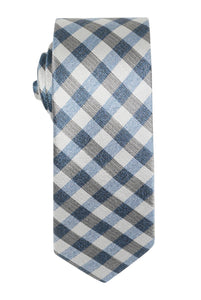 Blue Gingham Check Tie