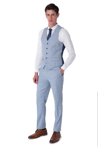 Waistcoat of NATHAN Blue Check Three Piece Slim Fit Suit