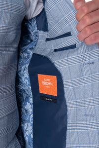 Lining detail of NATHAN Blue Check Three Piece Slim Fit Suit