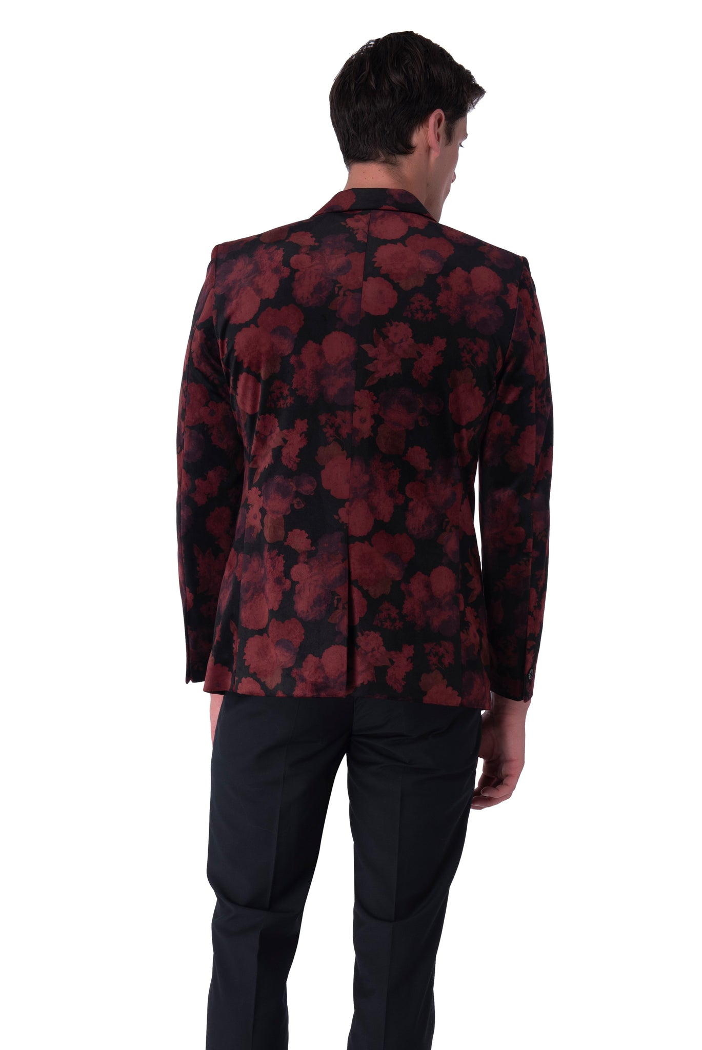 Back of OSCAR Red Velvet Floral Blazer
