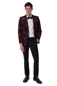 Full Length of OSCAR Red Velvet Floral Blazer