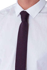 BENJAMIN Red & Navy Knitted Tie