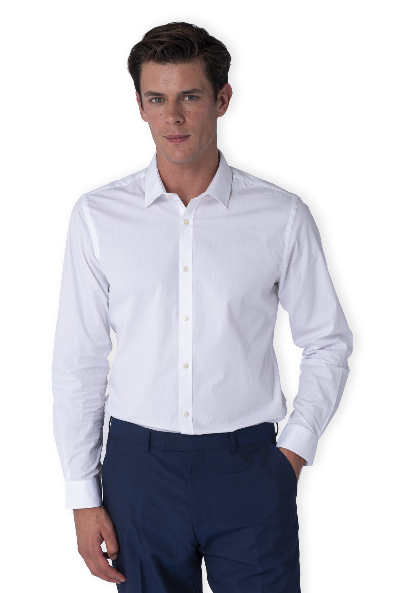 Front of THEO White Cotton Shirt