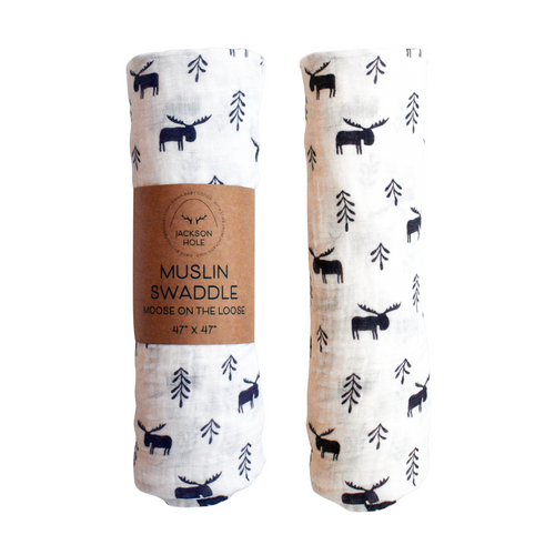 Moose On The Loose Muslin Swaddle
