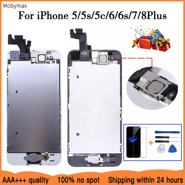 AAA+++ LCD Full Assembly For iPhone 5 5C 5S SE 6 7 8 Plus Touch Glass Display LCD Digitizer Replacement+Front Camera+Ear Speaker