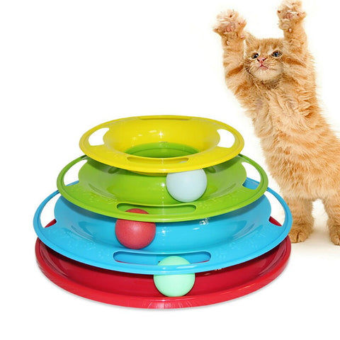 Disc Tri-laminar Turntable Cat Toys, Crazy Ball Disk Interactive Amusement Plate
