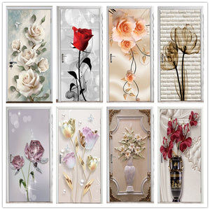 Stereo Flower Home Decor Art Door Sticker Renovation Natural Landscape Wallpaper For Living Room Bedroom Refrigerator Posters