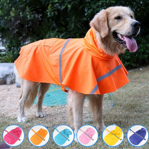 WZYAS Summer Outdoor Waterproof Pet Dog Coat Jacket Clothes Dogs Hoodie Reflective Dog Raincoat For Small Medium Large Dogs
