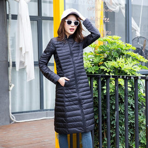 Woman Ultra Light Duck Down Jacket Long