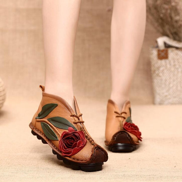 Women Casual Retro shoes embroidered Genuine Leather