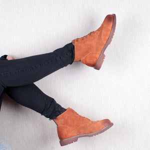 women shoes 2020 spring genuine leather Female Martin boots  suede women booties  British lace retro trend women naked boots