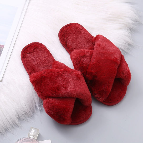 Winter Women House Slippers Faux Fur Fashion Warm Shoes Woman Slip on Flats Female Slides Black Pink cozy home  furry slippers