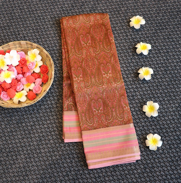Tussar silk saree with ethnic print