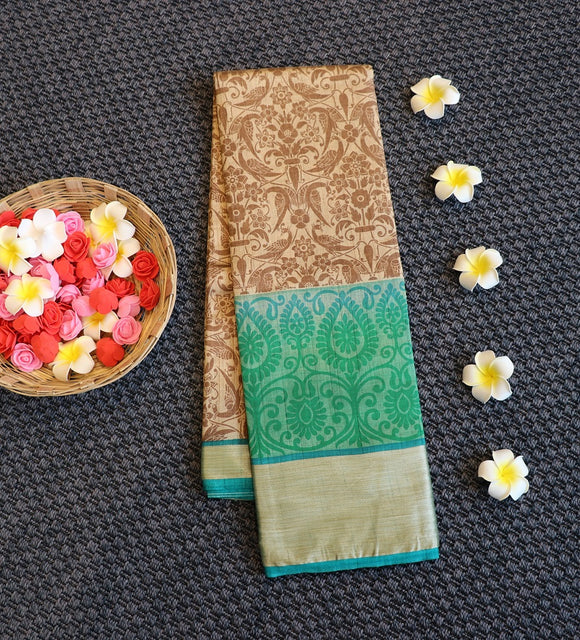 Fancy silk saree with peacock design