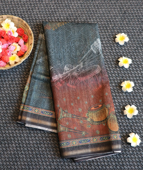 Linen saree with digital print design