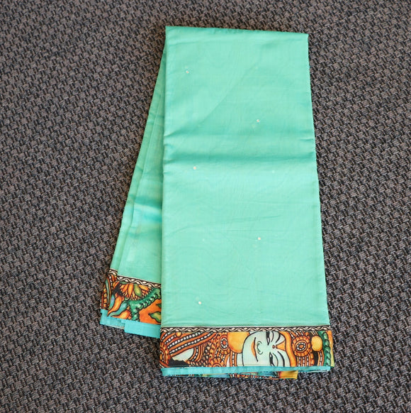Green colour super net saree with kalamkari work