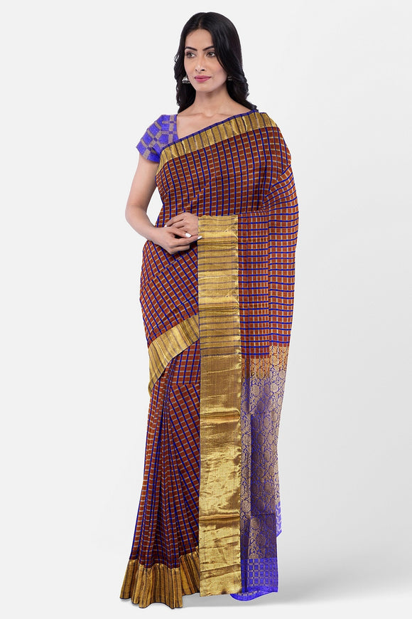 Fancy silk saree with multi colour lines