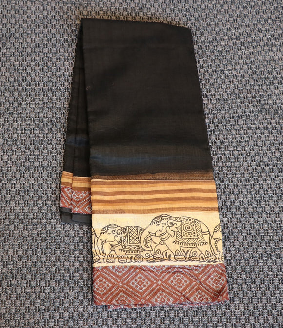 Black super net saree with kalamkari border