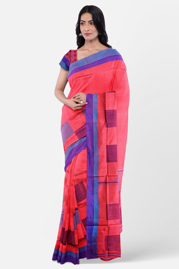 Pink colour soft silk saree with contrast border