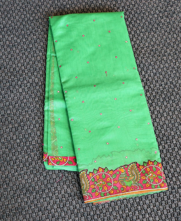 Green colour chanderi saree with kalamkari work