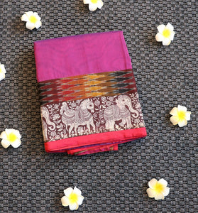 Pink supernet saree with kalamkari border and pallu