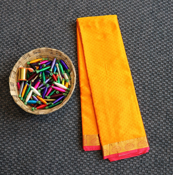 Yellow colour bangalore art silk saree