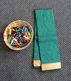 Green colour plain art silk saree