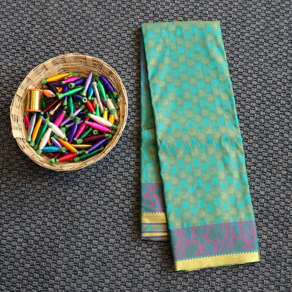 Bangalore art silk saree with mustard and green colour weaving