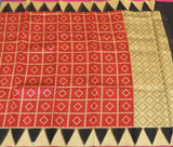Red colour jute saree with organza border