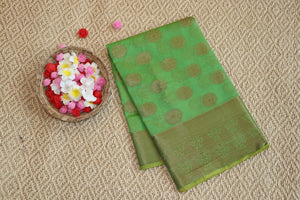 Green colour chanderi handloom saree