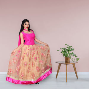 Pink & beige colour gown with golden work