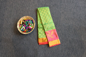 Green dharmavaram silk saree with birds design