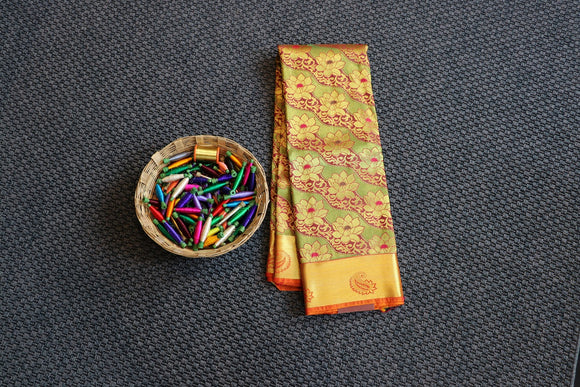 Maroon colour dharmavaram silk saree with mustard yellow border