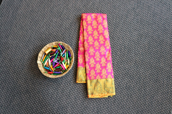Pink colour dharmavaram silk saree with contrast mustard border