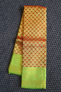 Maroon colour kanchipuram silk saree with mustard green border