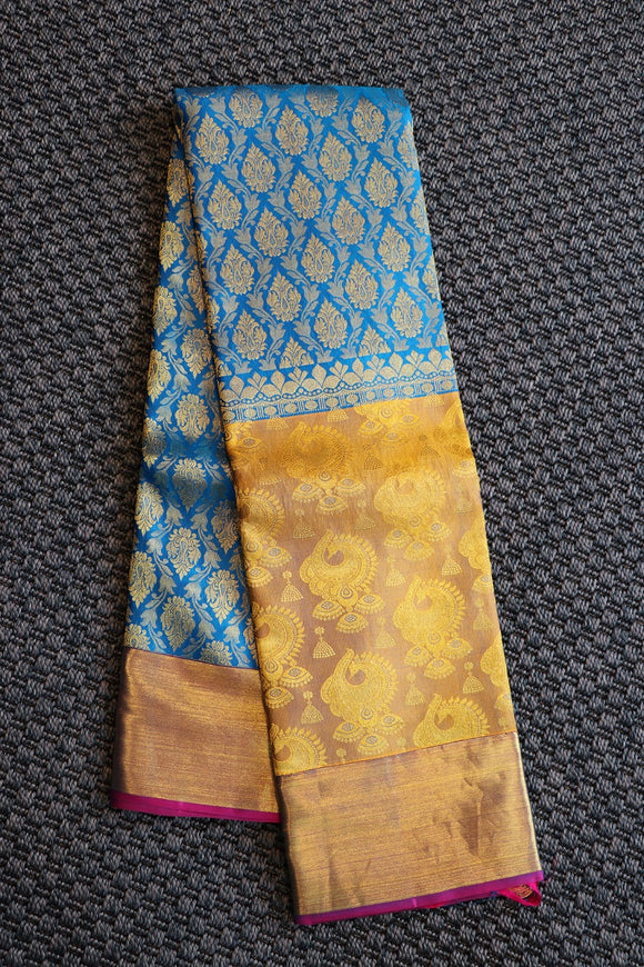 Blue colour kanchipuram saree with designer border