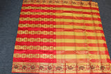 Red colour kanchipuram checks saree