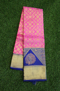 Kanchipuram silk saree with beautiful combination of pink and blue colours