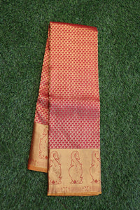 Red colour kanchipuram saree with traditional small motifs