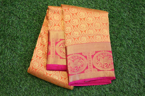 Light orange colour kanchipuram silk saree with contrast border