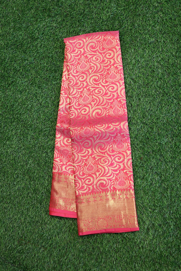 Peach pink full brocade kanchipuram saree with self colour