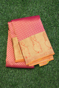 Pink colour traditional kanchipuram saree with mustard colour border