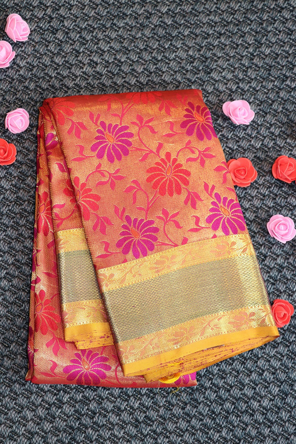 Pure silk saree with multi colour flowers weaving and contrast border and pallu