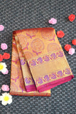 Pure silk saree with pink and purple colour combination