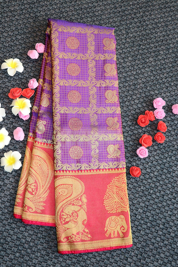 Purple colour kanchipuram silk saree with checks design and special border